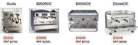 New commercial espresso machine brisbane australia B2009DE